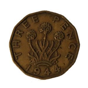 1944 King George VI Threepence