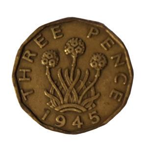 1945 King George VI Threepence