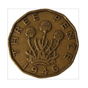 1946 King George VI Threepence