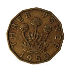 1950 King George VI Threepence