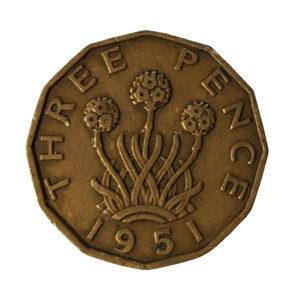 1951 King George VI Threepence