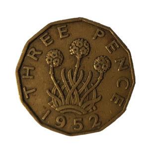 1952 King George VI Threepence