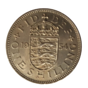 1954 Queen Elizabeth II English Shilling