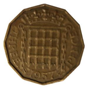 1957 Queen Elizabeth II Threepence