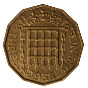 1958 Queen Elizabeth II Threepence