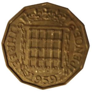 1959 Queen Elizabeth II Threepence