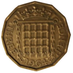 1964 Queen Eliabeth II Threepence