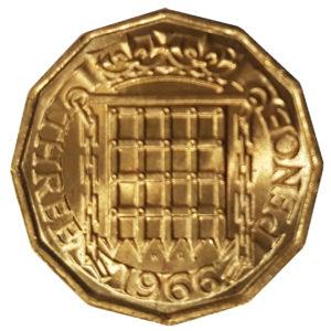 1966 Queen Elizabeth II Threepence