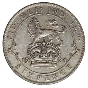 1924 King George V Sixpence