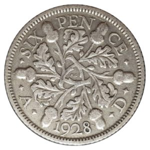 1928 Sixpence - King George V