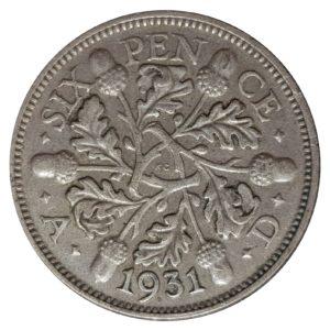 1931 Sixpence - King George V