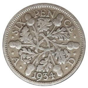 1934 Sixpence - King George V