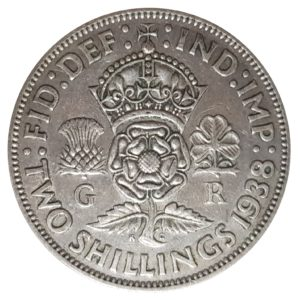 1938 Two Shillings, King George VI, Coin