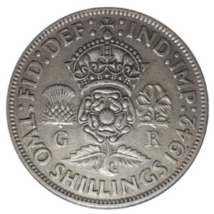 1942 Two Shillings, King George VI, Coin