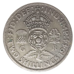 1944 Two Shillings, King George VI, Coin