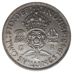 1945 Two Shillings, King George VI, Coin