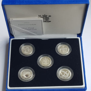 2003/2007 Five Coin Silver Proof £1 Set