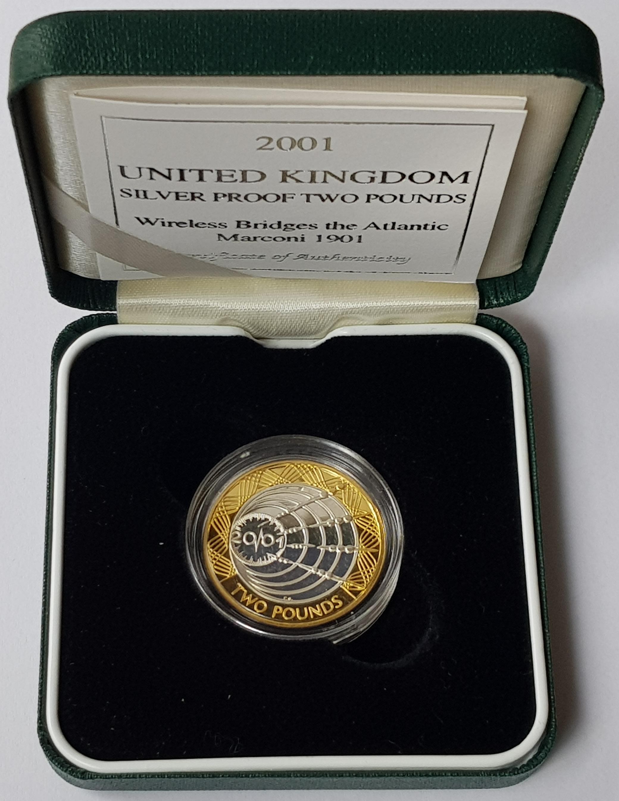 2001 United Kingdom Marconi Silver Proof 2 Coin
