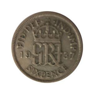 1937 Sixpence - King George VI,