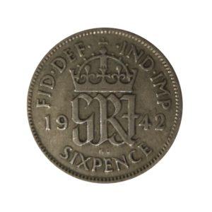 1942 Sixpence - King George VI