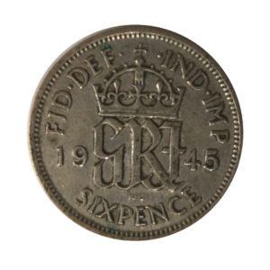 1945 Sixpence - King George VI