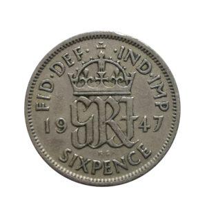 1947 Sixpence - King George VI