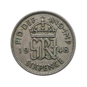 1948 Sixpence - King George VI