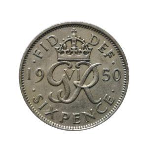 1950 Sixpence - King George VI
