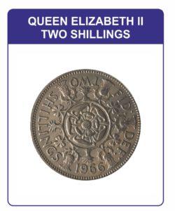 Queen Elizabeth II Two Shillings