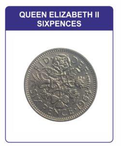Queen Elizabeth II Sixpences