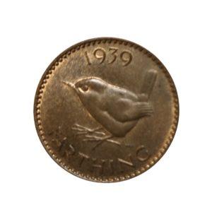 1939 Farthing, King George VI, Wren Design