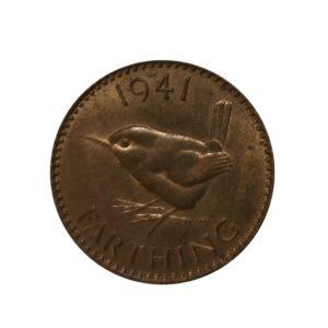 1941 Farthing, King George VI, Wren Design