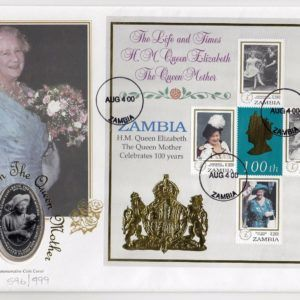 2000 Zambia The Life & Times of HM Queen Elizabeth The Queen Mother Cover