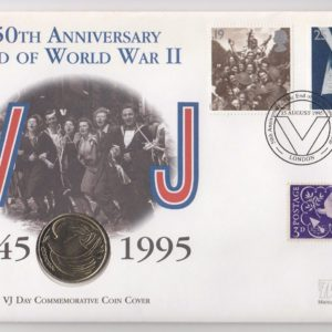 1995 UK 50th Anniversary of the End of WWII Coin Cover with Two Pound Coin