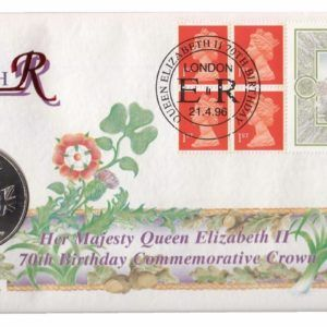1996 Queen Elizabeth II 70th Birthday Coin Cover and Commemorative Crown