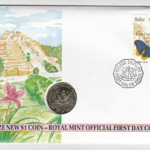 1990 Belize One Dollar Coin and First Day Cover