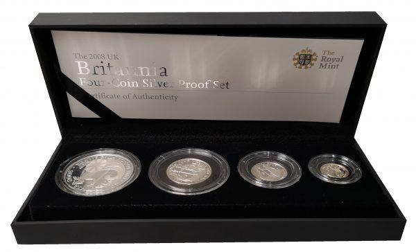 2008 Royal Mint Britannia Four Coin Silver Proof Set